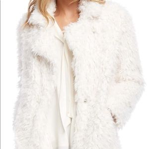NEW Forever 21 Faux Fur Shaggy White Jacket Coat